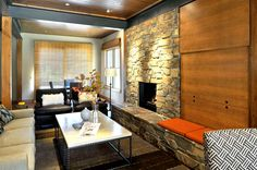 Modern Living Room with Carpet, stone fireplace