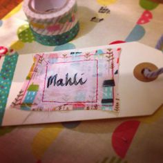 Fabric and washi tape tag with fabric gift bag