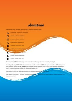 The #namemeaning of #Annabelle using Orange & Blue Waves from the project pack Liquid. Unique #giftideas and #personalizedgifts for #babynames http://www.themeaningofnames.org/?n=Annabelle&m=&d=&y=&go=Go