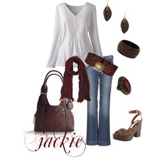 Boho Brown and White with a bit of Burgandy, created by jackijons on Polyvore