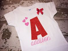 Personalized Glitter Vinyl Initial and Name Valentines Shirt with Bow