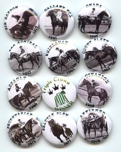 "TRIPLE CROWN Horse Race Winners 12 Pinback 1"" Buttons Badges Pins"