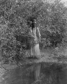 Young Indian Woman Near Stream Vintage 8x10 Reprint Of Old Photo