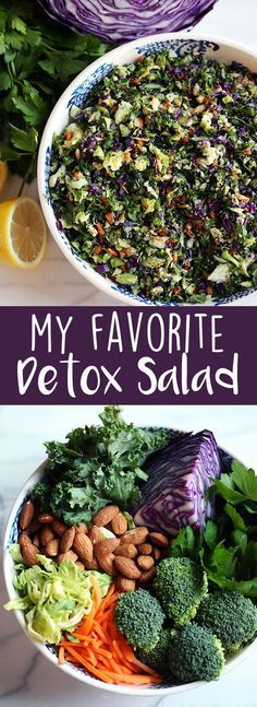 My Favorite Detox Salad recipe. It is a healthy meal idea for dinner or lunch and uses vibrant and nutrient dense foods as ingredients! | Eat Yourself Skinny