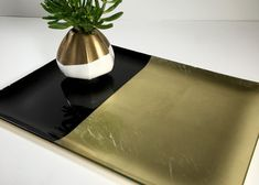 Vintage Mid Century Glass Tray Bar Tray Gold by ChattCatVintage