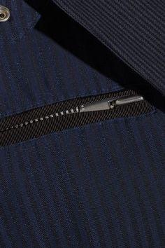 Sacai - Hickory Twill-trimmed Striped Cotton-canvas Peplum Jacket - Navy - 2