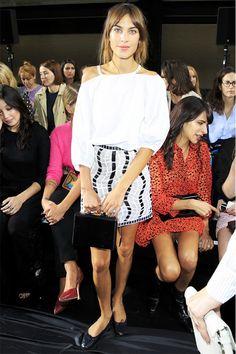 Alexa Chung in a white Christopher Kane skirt. // #LFW