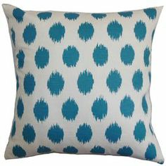 Cotton pillow with an ikat dot motif