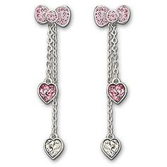 Hello Kitty Pink Bow Pierced Earrings  This delicate pair of pierced earrings features Hello Kitty's signature bow in glittering Light Rose crystal Pointiage®. The dangling clear crystal droplets are removable, offering two different looks in one. Combine the earrings with the matching necklace for a trendy look!  Article no.: 1097206  Size: 1 3/4 inch  $90.0