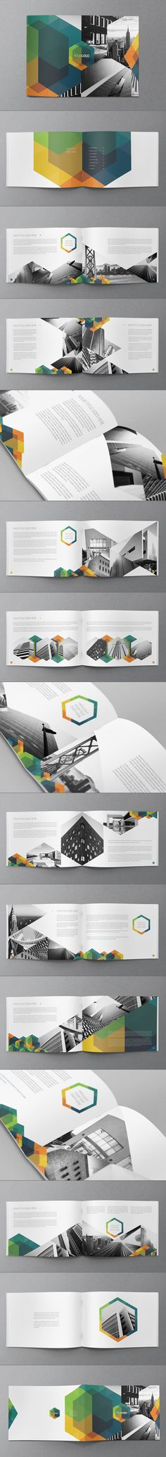 Geometric #brochure or #booklet design template. I love the repeating hexagon.