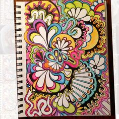 Colored pencil, pen and markers, trippy doodle