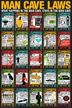 Man Cave Laws Poster - On Sale for $5.70 - man cave signs, man cave decor, man cave ideas - www.ultimatemancaveshop.com
