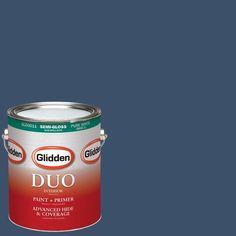 Glidden DUO 1-gal. #HDGV26 Rich Navy Semi-Gloss Latex Interior Paint with Primer