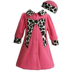 Picture of Bonnie Jean LITTLE GIRLS 4-6X 2-Piece FUCHSIA-PINK BLACK WHITE LEOPARD-ANIMAL PRINT BOW FLEECE COAT/Coat/Outerwear and HAT Set, a Girls Coat at Affordable Price