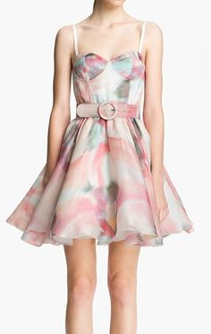 Watercolors belted swing dress