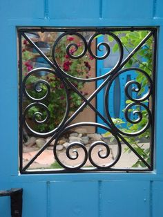 """wrought iron """"window"""" for garden gate Wrought Iron Decor, Wrought Iron Gates, Balustrades, Iron Windows, Blacksmith Projects, Cool Doors, Forging Metal, Iron Furniture, Grill Design"""