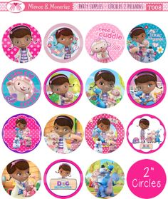 "Doc McStuffins - 2"" Circle Images - Digital Collage Sheet 8.5x11"" - Cupcake Toppers, Printable Party Favors, Party Tags - INSTANT DOWNLOAD"