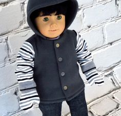 Boy Doll Gray Fleece Hoodie with Mittens  by SewFunDollClothes, $28.00