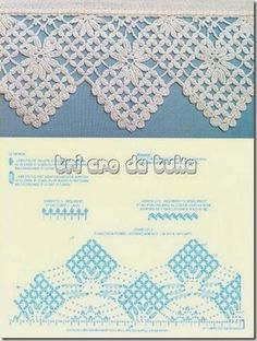 Check out the diagrams and learn to make more than 150 points, (crochet edgings) with images. There are several crochet borders that can be applied in various crochet projects. Choose your favorites… Crochet Diy, Filet Crochet, Beau Crochet, Crochet Lace Edging, Crochet Borders, Crochet Diagram, Crochet Chart, Irish Crochet, Crochet Doilies