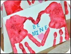 tree seasons handprints | Here's another handprint Valentine card. (Thanks Rosy Posy !)