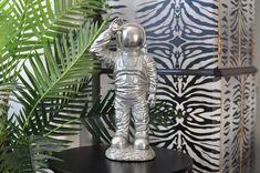Silver Standing Astronaut Figure Quirky Decor, Unique Home Decor, Astronaut, Lion Sculpture, Statue, Retro, Silver, Art, Art Background