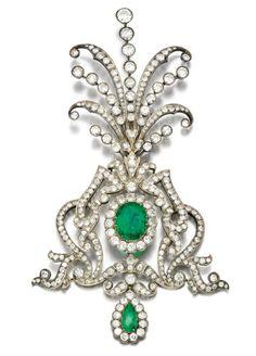 EMERALD AND DIAMOND AIGRETTE, 1900S