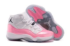 f22e8c1acb3 Girls New Jordans 11 hot sale color White Pink with Fluorescent Powder  Print Pink 11s,