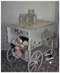 tea cart, paint, white, stencil, shabby, chic, vintage, romantic, roses, painted