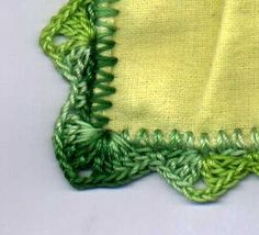This site shows 4 different crocheted edging patterns you can use for flannel blankets or any edging.