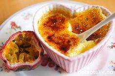 Crème brûlée med passionsfrugt