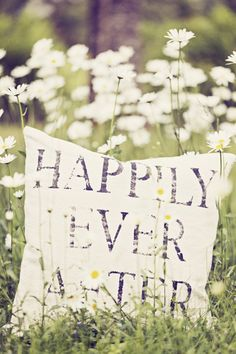 "Place a bride and groom behind this DIY ""Happily ever after"" pillow, and you have a memorable photo."