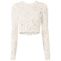 A.L.C. Women's Talia Lace Top found on Polyvore featuring tops, crop tops, shirts, long sleeved, white, white scallop top, scalloped lace top, white lace top, scallop top and cut-out crop tops