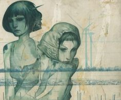 """""""Nymphs IV""""  Watercolor and Acrylic on Fabriano"""