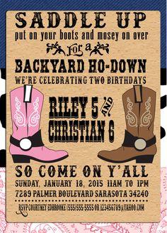 PRINTABLE backyard ho-down party invitations, PRINTABLE western party invitations by CraftedByYudi on Etsy https://www.etsy.com/listing/245017860/printable-backyard-ho-down-party