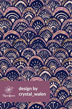 Mermaid Sparkle Autumn Blush by crystal_walen - Hand painted mermaid scales pattern on fabric, wallpaper, and gift wrap. Beautiful painted scales pattern with detailed patterns on each scale. Textile Patterns, Textile Design, Fabric Design, Print Patterns, Textiles, Art Deco Fabric, Motif Art Deco, Fabric Wallpaper, Pattern Wallpaper