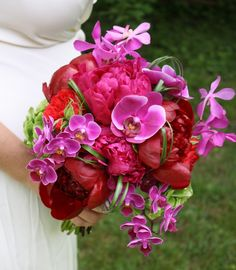 Peonies and orchid bouquet