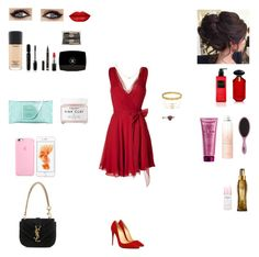 """Red #4"" by lavwichi ❤ liked on Polyvore featuring Yves Saint Laurent, Victoria's Secret, Blue Nile, Charlotte Russe, Cartier, Lipsy, MAC Cosmetics, Chantecaille, Chanel and Marc Jacobs"