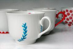 Anthro-Inspired mugs, hand-drawn