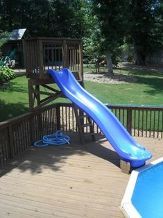 Above Ground Pool Deck Plans . Awesome Above Ground Pool Deck Plans . How to Choose Pool Deck and Patio Materials Above Ground Pool Slide, Above Ground Pool Landscaping, Above Ground Swimming Pools, In Ground Pools, Patio Plan, Pool Deck Plans, Pool With Deck, Pool With Slide, Deck Slide