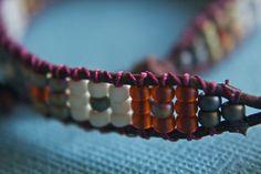 Earth Tone Seed Bead Patterned Bracelet by treeleafjewellery, $32.00