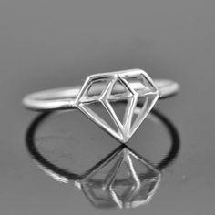 diamond ring diamond shaped ring wedding ring by JubileJewel, $65.00