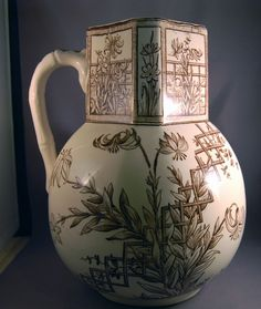 "Aesthetic Movement G.W. Turner & Sons Transferware ""Beatrice"" Huge Pitcher! #GWTurnerSonsTunstallEngland"