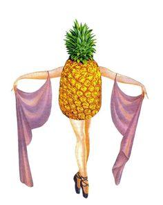 Pineapple Art Original Collage Art Tropical Fruit by dadadreams