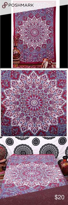 Mandala Bohemian Large Tapestry 60 X 90 Inches Hand crafted in India using traditional methods. Material: 100% Cotton Makes a great wall hanging, tablecloth, beach cover up, Dorm, couch cover or window curtain other Home Décor purposes 60 by 90 inches Other