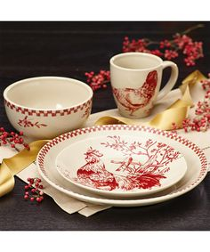 Farberware Burgundy Red BonJour Chanticleer Country Dinnerware Set | zulily  sc 1 st  Pinterest & French Farm Dinnerware at Horchow. | Table Settings/Gorgeous place ...
