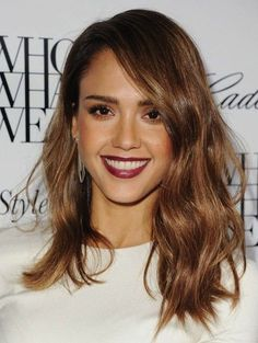Jessica Alba Medium Hairstyle with Deep Side Part