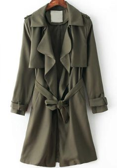 Army Green Lapel Long Sleeve Belt Trench Coat - abaday.com