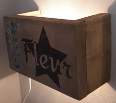 Wandlamp van steigerhout met eigen naam. Leuk voor op de kinderkamer Led Lamp, Canning, Home Canning