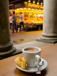 Chocolate con Churros Breakfast, Barcelona, Spain.  One is definitely not enough.  Like having hot liquid pudding.  So good.