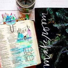 Advent Bible Journaling Round Up Psalm Deep calls to deep watercolor Tai Bender Growing Meadows